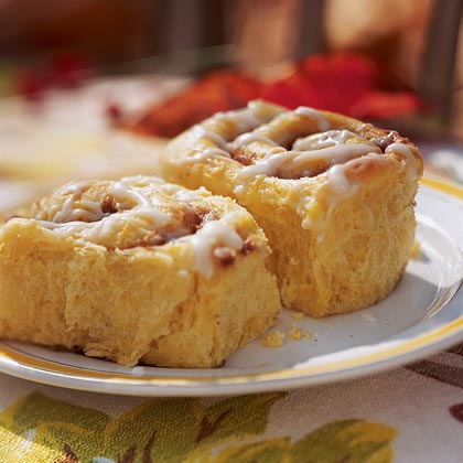 Pumpkin-Cinnamon Streusel Buns RecipeTo make these year-round, substitute canned pumpkin puree and add an extra cup of all-purpose flour.