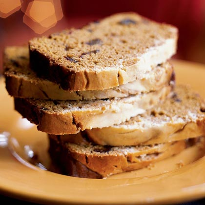 Pumpkin-Date Loaf with Cream Cheese Swirl