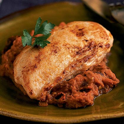Chicken with Eggplant-Pepper Sauce