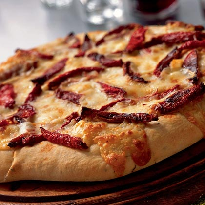 Flatbread with Oven-Dried Tomatoes, Rosemary, and Fontina