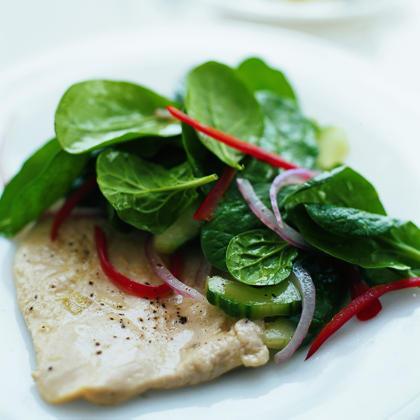 Ginger Chicken with Cucumber-Spinach SaladRecipe