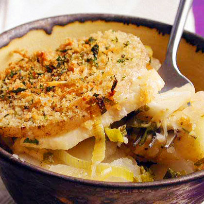 Potato, Celeriac, and Green Onion Gratin