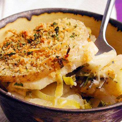 Potato, Celeriac, and Green Onion Gratin