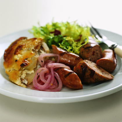 Grilled Sausages with Pickled Onions Recipe