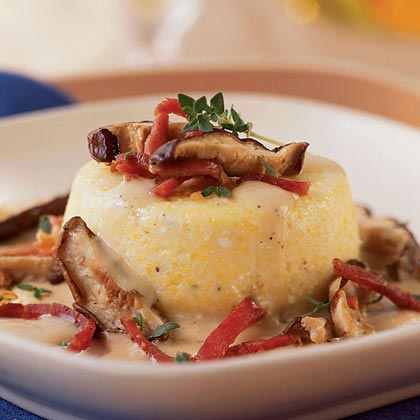 Baked Grits with Country Ham, Wild Mushrooms, Fresh Thyme, and Parmesan