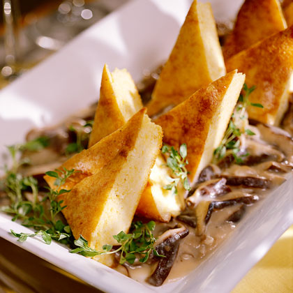 Spoonbread Grits with Savory Mushroom Sauce Recipe
