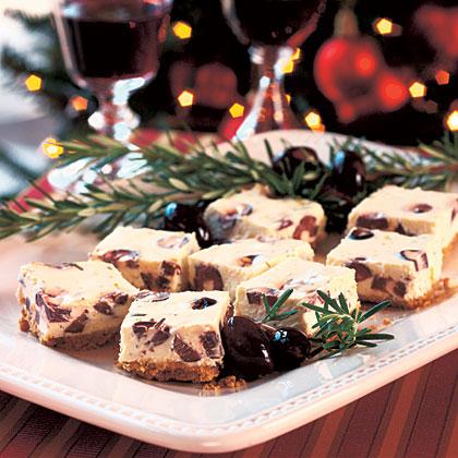 Savory Kalamata Cheesecake Squares