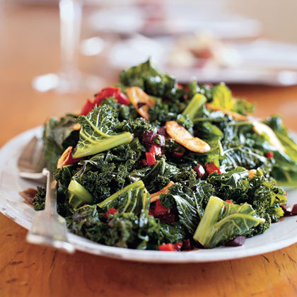 Kale with Roasted Peppers and Olives Recipe