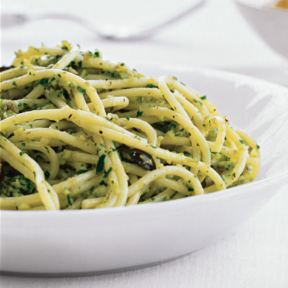 Pasta with Green Olive Pesto Recipe
