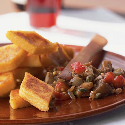 Caponata with Polenta Crostini