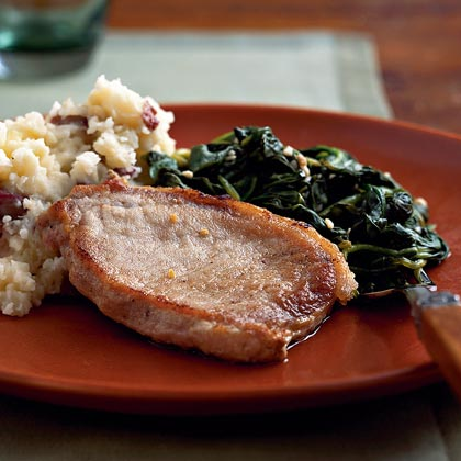 Pork Chops with Lemon Spinach Recipe