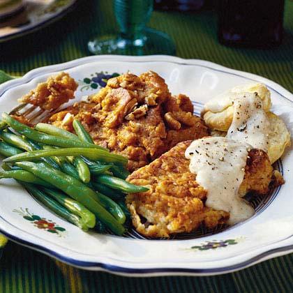 Fried pork chops with cream gravy recipe myrecipes fried pork chops with cream gravy ccuart Gallery