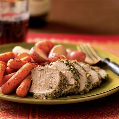 <p>Pork Tenderloin Studded with Rosemary and Garlic</p>
