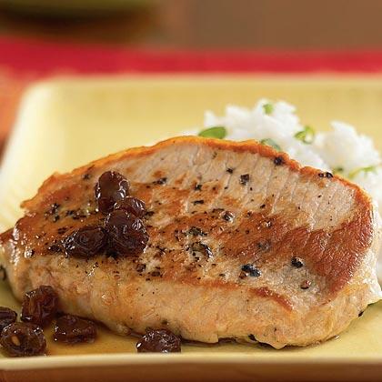 Pork with Port Wine and Raisin Sauce