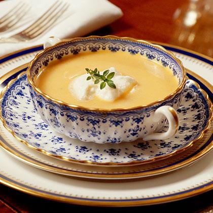 Sweet Potato Soup with Rum Cream