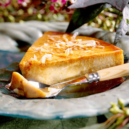 Pumpkin Flan RecipeCanned pumpkin adds both rich flavor and creaminess to this traditional Spanish custard, and toasted coconut adds even more sweetness.