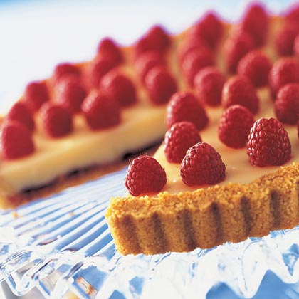 Red-Gold Raspberry White Chocolate Tart Recipe | MyRecipes.com