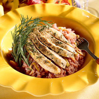 Pinot Noir Risotto With Rosemary Chicken Recipe