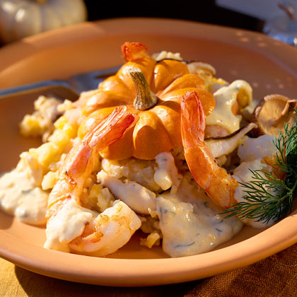Pumpkin Risotto with Shrimp
