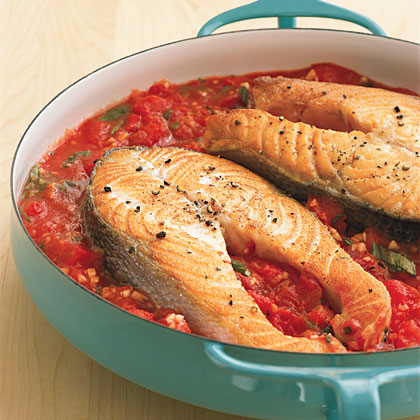 Pan-Roasted Salmon and Tomatoes