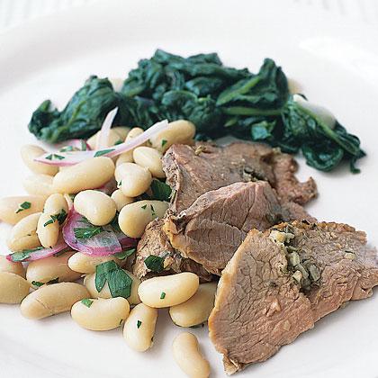 Rosemary-Garlic Lamb with White BeansRecipe