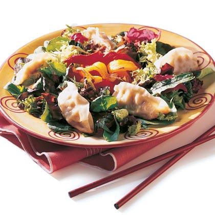 Potsticker and Roasted Pepper Salad