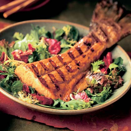 Spicy Ponzu Salmon on Greens