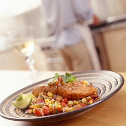 Salmon With Corn-and-Tomato Salsa Recipe