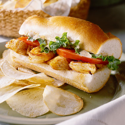 Stuff a French sandwich roll with grilled shrimp and catfish for a lighter version of this traditional New Orleans sandwich.Recipe: Grilled Seafood Po'Boy