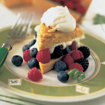 Cornmeal Piñon Shortcakes with Berries and Lime Cream