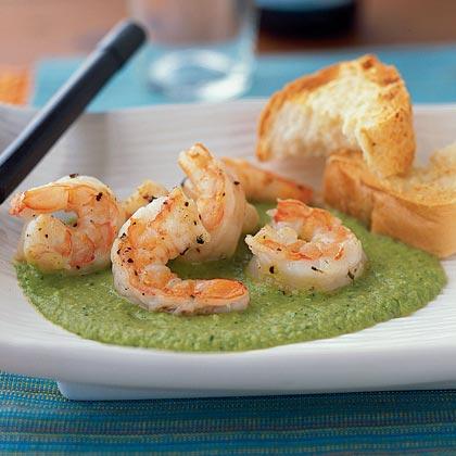 Shrimp with Sweet Pea Sauce