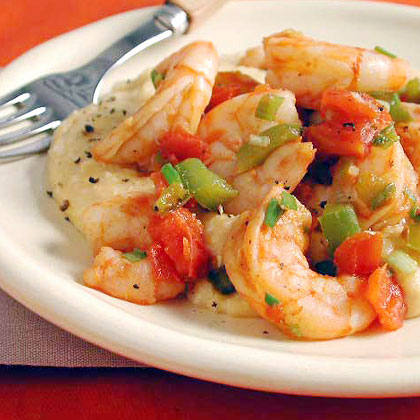Shrimp and Tomatoes with Cheese Grits Recipe