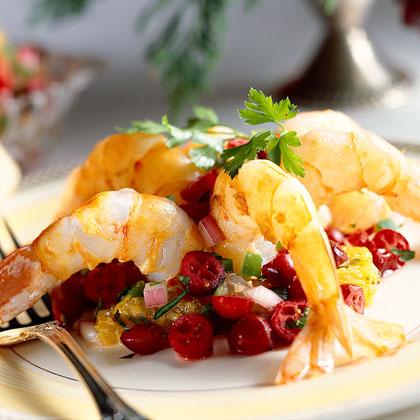 Sautéed Shrimp with Cranberry-Citrus Salsa
