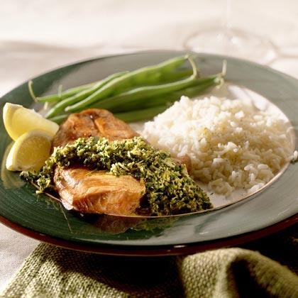 Soy-Salmon With Cilantro-Coconut Chutney