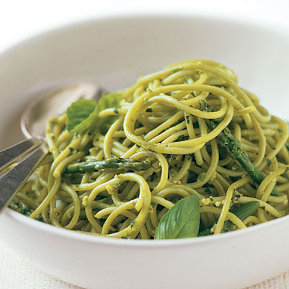 Spinach Pasta with Asparagus Pesto Recipe | MyRecipes