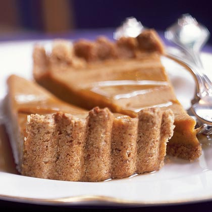Sweet Potato Tart with Pecan Crust RecipeInstead of using pecans as a filing for a pie, use ground pecans and whole wheat flour to make a nutty-flavored crust.