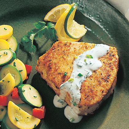 Swordfish with Cilantro-Lime Cream Recipe