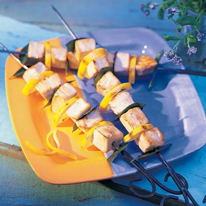 Skewered Swordfish with Bay and Lemon