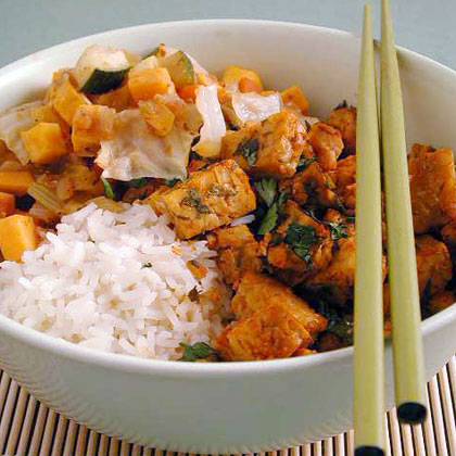 Vegetable Tagine with Baked Tempeh