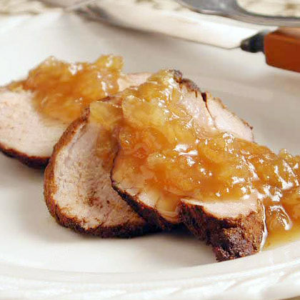 Spicy Pork Tenderloin with Ginger-Maple Sauce