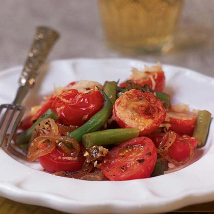 Caramelized Onion, Green Bean, and Cherry Tomato Tian Recipe