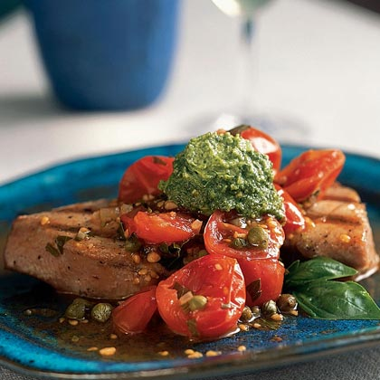 Grilled Tuna with Basil Butter & Fresh Tomato Sauce Recipe | MyRecipes