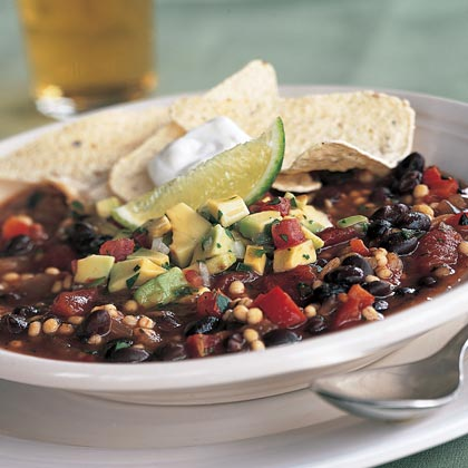 Quick Vegetarian Chili with Avocado Salsa Recipe