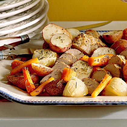 Oven-Roasted Vegetables and Pork