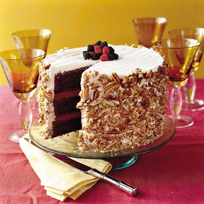 Blackberry-Raspberry Truffle Cake RecipeThis top-rated cake got rave reviews from our users, who praise its flavor and presentation. The recipe starts with boxed cake mix, making it a holiday-friendly cake for times when every minute counts.