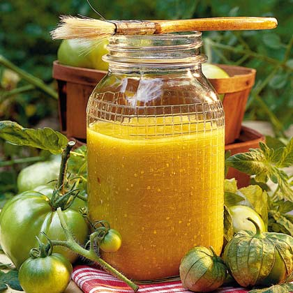 Tomatillo Barbecue Sauce RecipeA far cry from a tomato-based barbecue sauce, this sweet and tangy yellow sauce is made with fresh green tomatoes and tomatillos. It's great for basting grilled chicken, fish, or shrimp.
