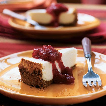 Cheesecake with Cranberry-Maple Topping Recipe