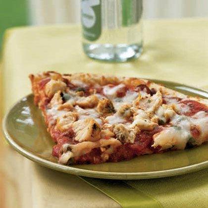 A traditional puttanesca sauce is a spicy mixture or tomatoes, onions, capers, olives, oregano, and garlic. For this shortcut version, you just add capers and red peppers to a jarred pasta sauce and spread on a ready-made pizza crust.Chicken Puttanesca Pizza Recipe