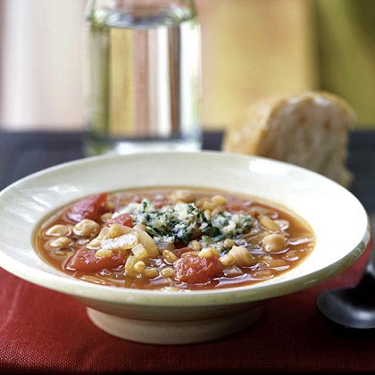 Grano and Chickpea Soup with Parmesan-Herb Topping