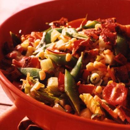 Chop Salad with Corn, Snap Peas, and BaconRecipe